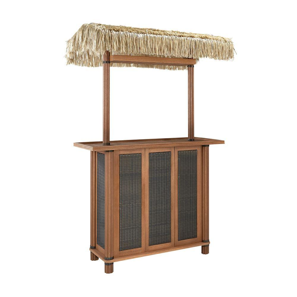 Homestyles Bali Hai Outdoor Tiki Patio Bar Table With Woven Panels