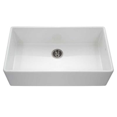 Platus Farmhouse Apron Front Fireclay 36 in. Single Bowl Kitchen Sink in White with Dual-Mounting Options