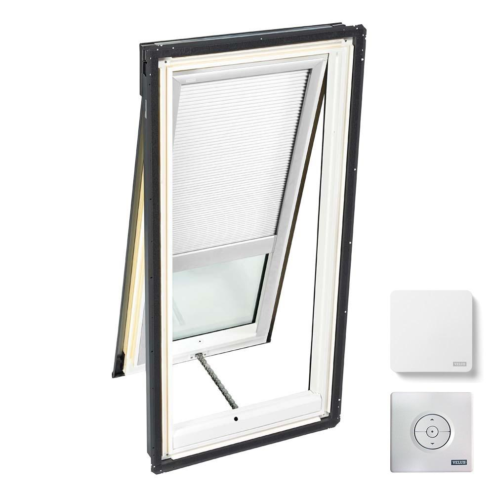 VELUX 21 in. x 37-7/8 in. Venting Deck Mount Skylight with Laminated Low-E3 Glass & White Solar Powered Light Filtering Blind