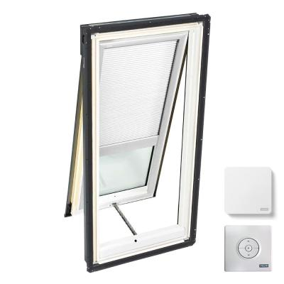 21 in. x 45-3/4 in. Venting Deck Mount Skylight with Laminated Low-E3 Glass & White Solar Powered Light Filtering Blind