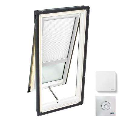 30-1/16 in. x 45-3/4 in. Venting Deck-Mount Skylight w/ Laminated Low-E3 Glass White Solar Powered Light Filtering Blind