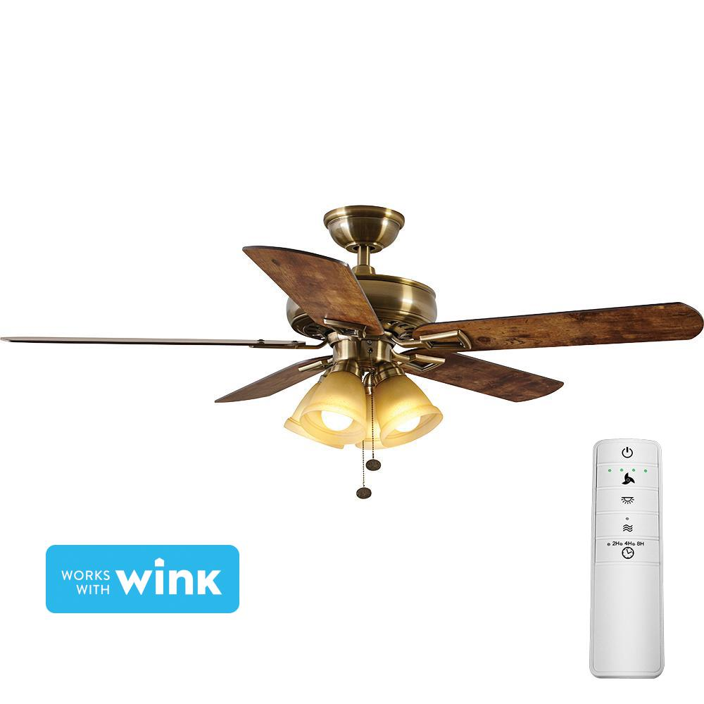 Hampton Bay Lyndhurst 52 In Led Antique Brass Smart Ceiling Fan With Light Kit And