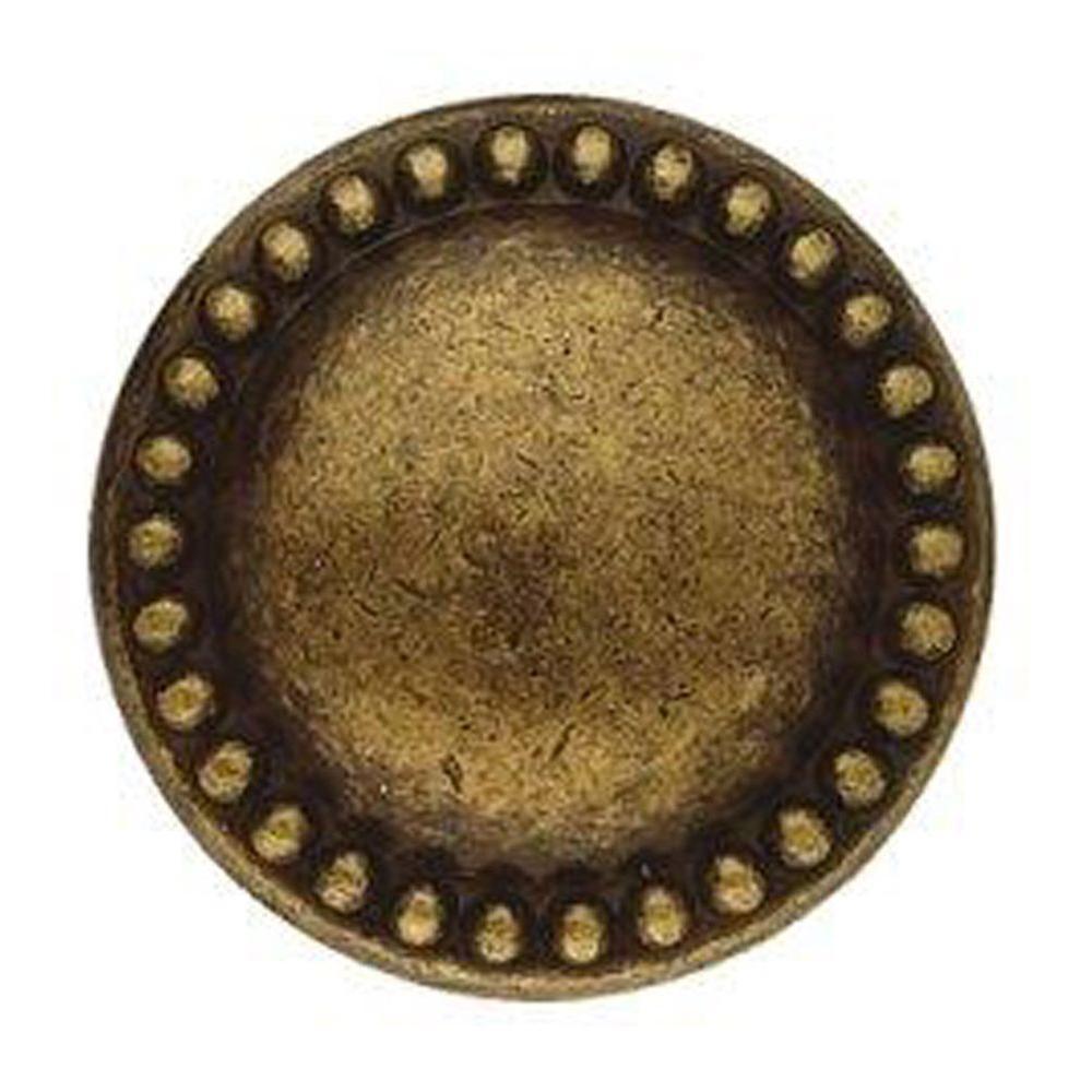 Louis XVI 1.18 in. Diameter Antique Brass Distressed Round Knob