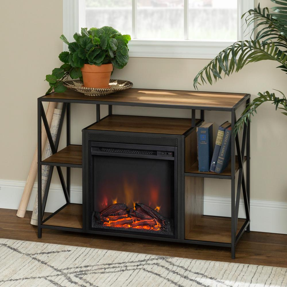 Walker Edison Furniture Company 40 in. Rustic Oak X-Frame Open Shelf Fireplace