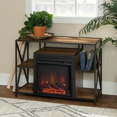 40 in. Rustic Oak Composite TV Console 49 in. with Electric Fireplace