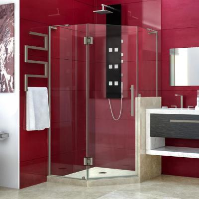 Prism Plus 40 in. x 72 in. Frameless Neo-Angle Hinged Shower Enclosure in Brushed Nickel