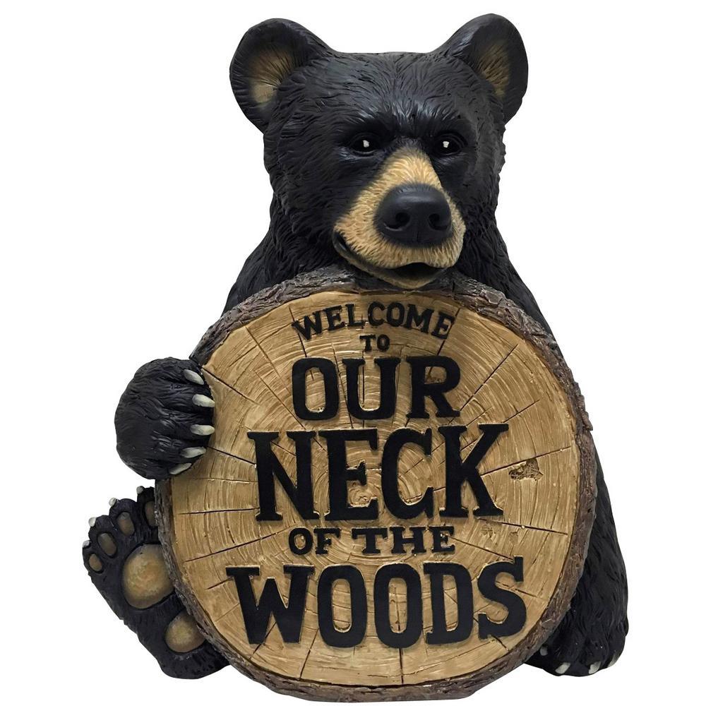 17 in. H Neck of the Woods Bear Indoor Outdoor Lawn Statue
