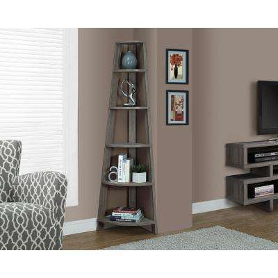 Dark Taupe Corner Open Bookcase