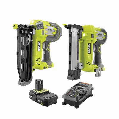 18-Volt ONE+ 16-Gauge Cordless AirStrike Straight Nailer, 18-Gauge Narrow Crown Stapler with 2.0 Ah Battery and Charger