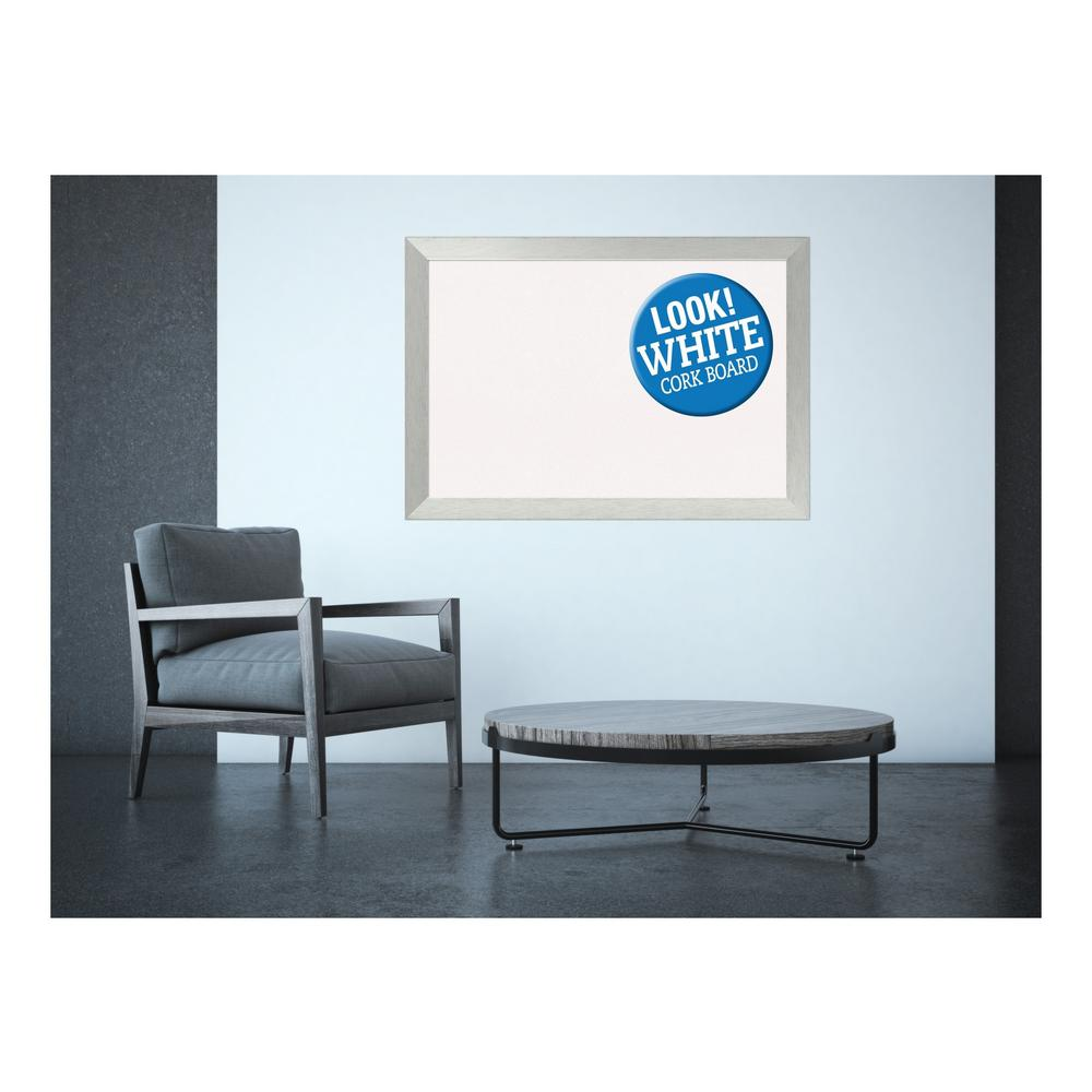 Brushed Sterling Silver Wood 40 in. x 28 in. Framed White