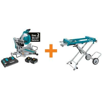 18-Volt Lithium-Ion Brushless Cordless 10 in. Dual-Bevel Sliding Compound Miter Saw and Portable Rise Miter Saw Stand