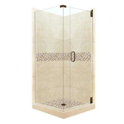Roma Grand Hinged 42 in. x 42 in. x 80 in. Right-Hand Corner Shower Kit in Desert Sand and Old Bronze Hardware