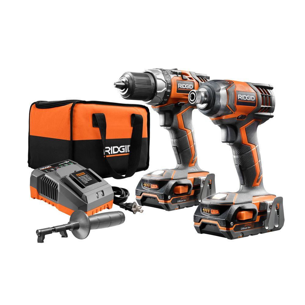 RIDGID 18-Volt Lithium-Ion Cordless Drill/Driver and Impact Driver 2-Tool Combo Kit with (2) 1.5 Ah Batteries, Charger, and Bag