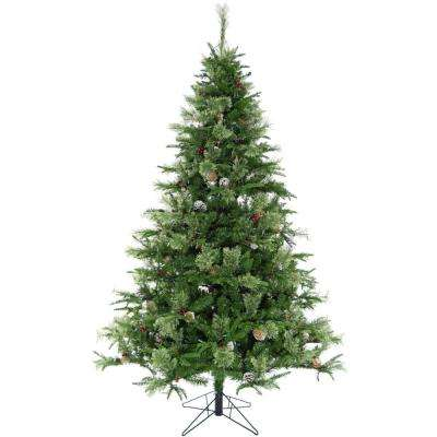 6.5 ft. Berkshire Pine Green Christmas Tree with Pinecones and Metal Stand