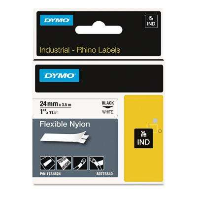 Rhino Flexible Nylon Industrial Label Tape, 1 in. x 11-1/2 ft. White/Black Print