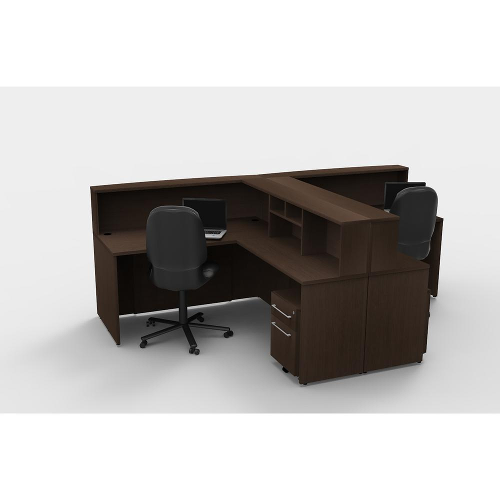 10-Piece Espresso Office Reception Desk Collaboration Center