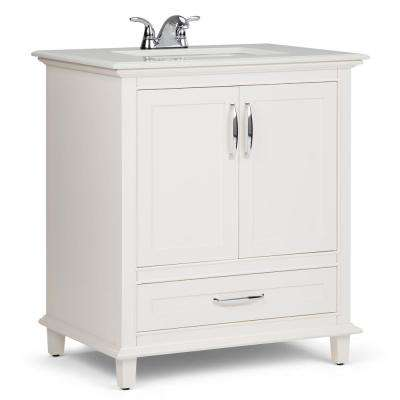 Ariana 30 in. W x 22 in. D Bath Vanity in Soft White with Quartz Marble Vanity Top in Bombay White with White Basin