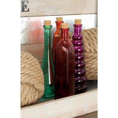 8 in. New Traditional Glass Stopper Bottles (Set of 4)