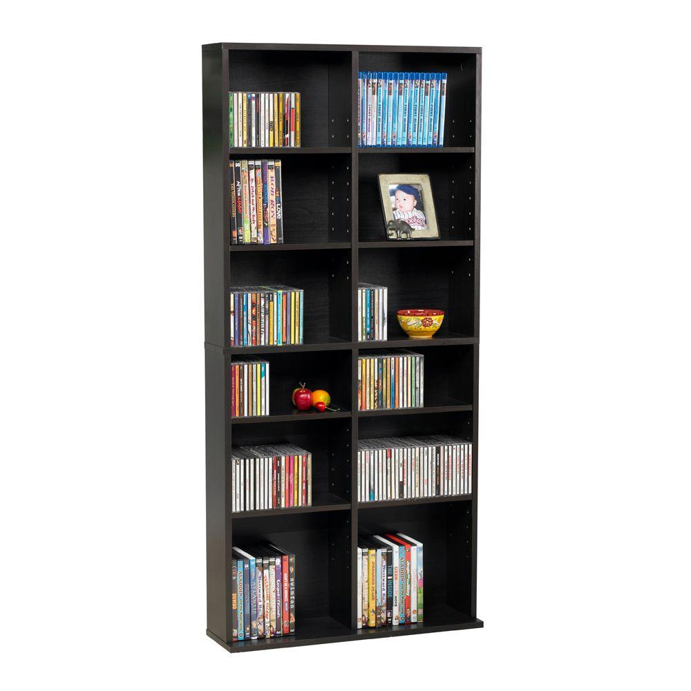 Atlantic Oskar Espresso (Brown) Media Storage Atlantic, Inc. 38435720, The Espresso Oskar is an ideal medium capacity multimedia cabinet for all of your media storage needs. You may have room to use some compartments for photos or accent pieces. The durable frame features a closed back.
