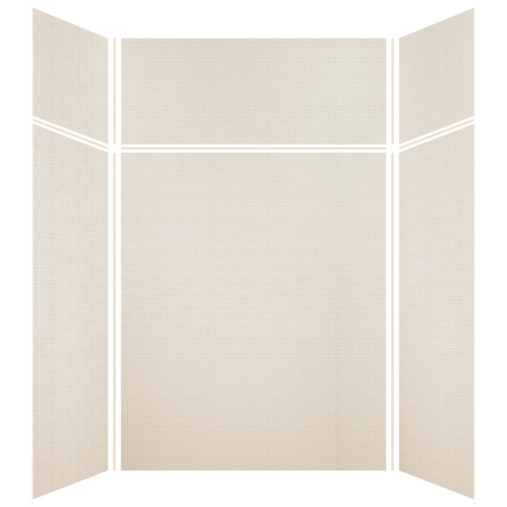 Transolid Expressions 42 in. x 60 in. x 96 in. 4-Piece Easy Up Adhesive Alcove Shower Wall Surround in Cameo