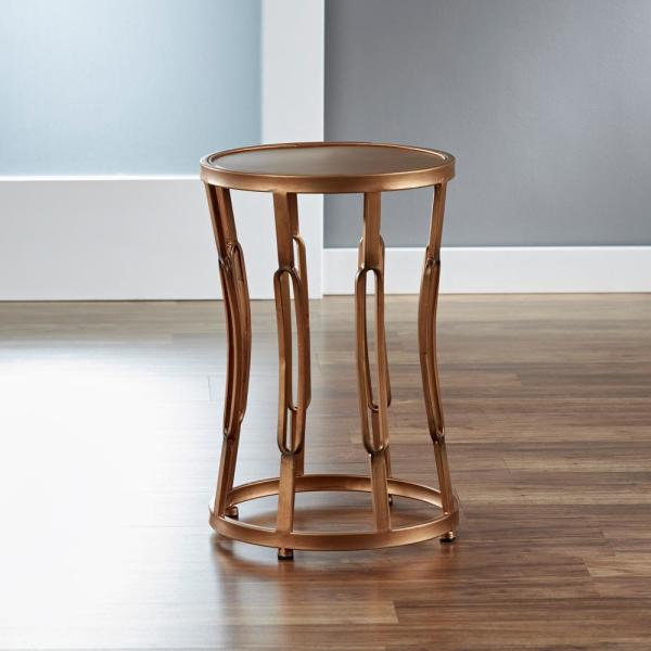 FirsTime 20.5 in. Antique Gold Hourglass Side Table