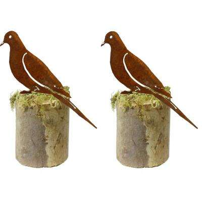 8 in. Tall Metal Rustic Look Artwork Dove Silhouettes (Set of 2)