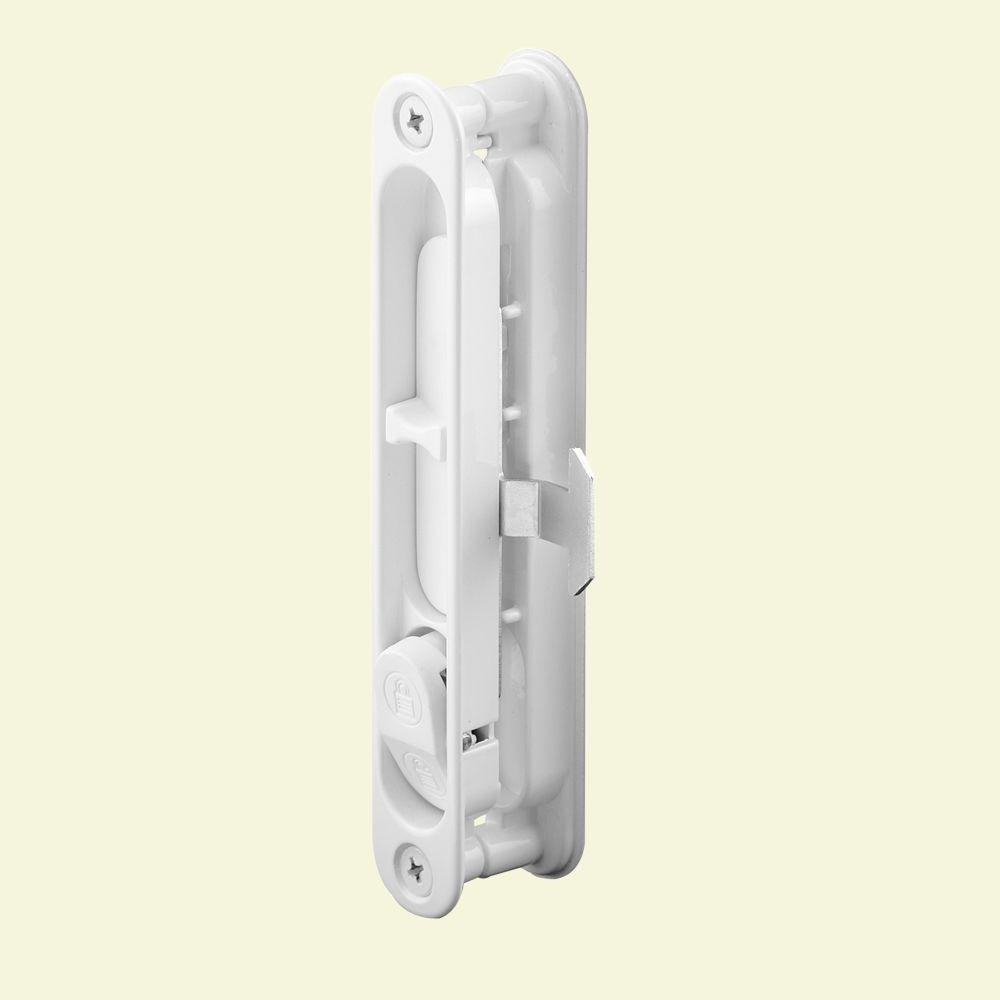 Prime line white sliding screen door latch a 222 the for Home depot sliding glass door lock