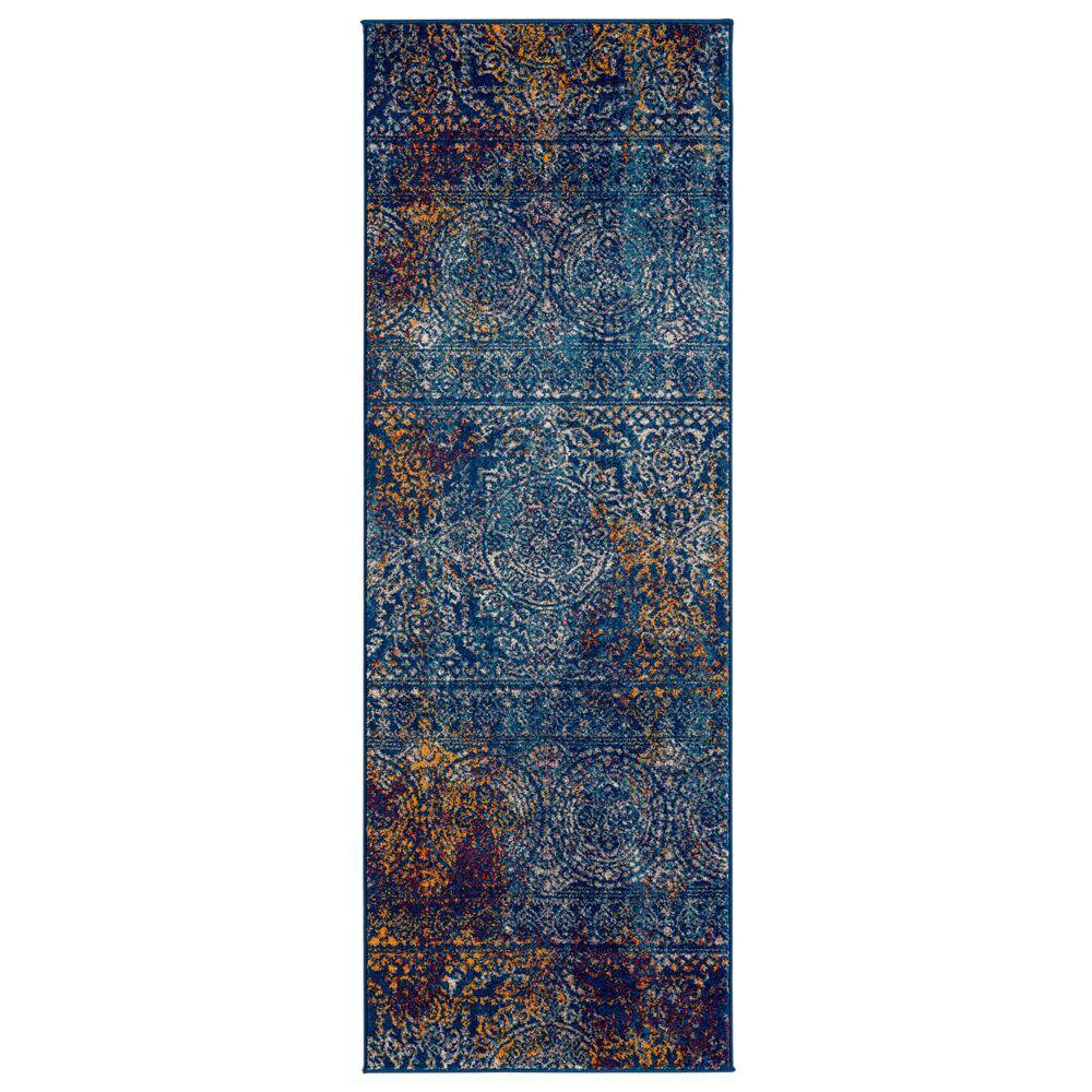Mandisa Blue-Orange Multi 2 ft. 6 in. x 7 ft. 6 in. Runner Rug