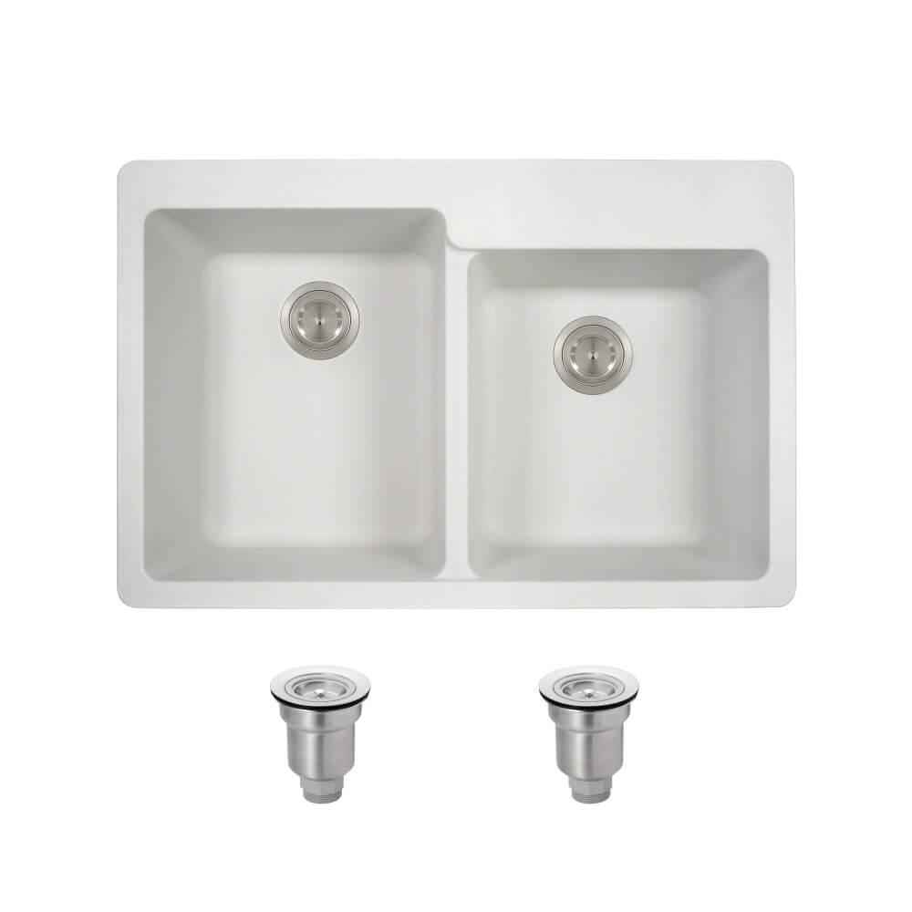 IPT Sink Company Drop-in Granite Composite 33 in. 4-Hole Offset 50 ...