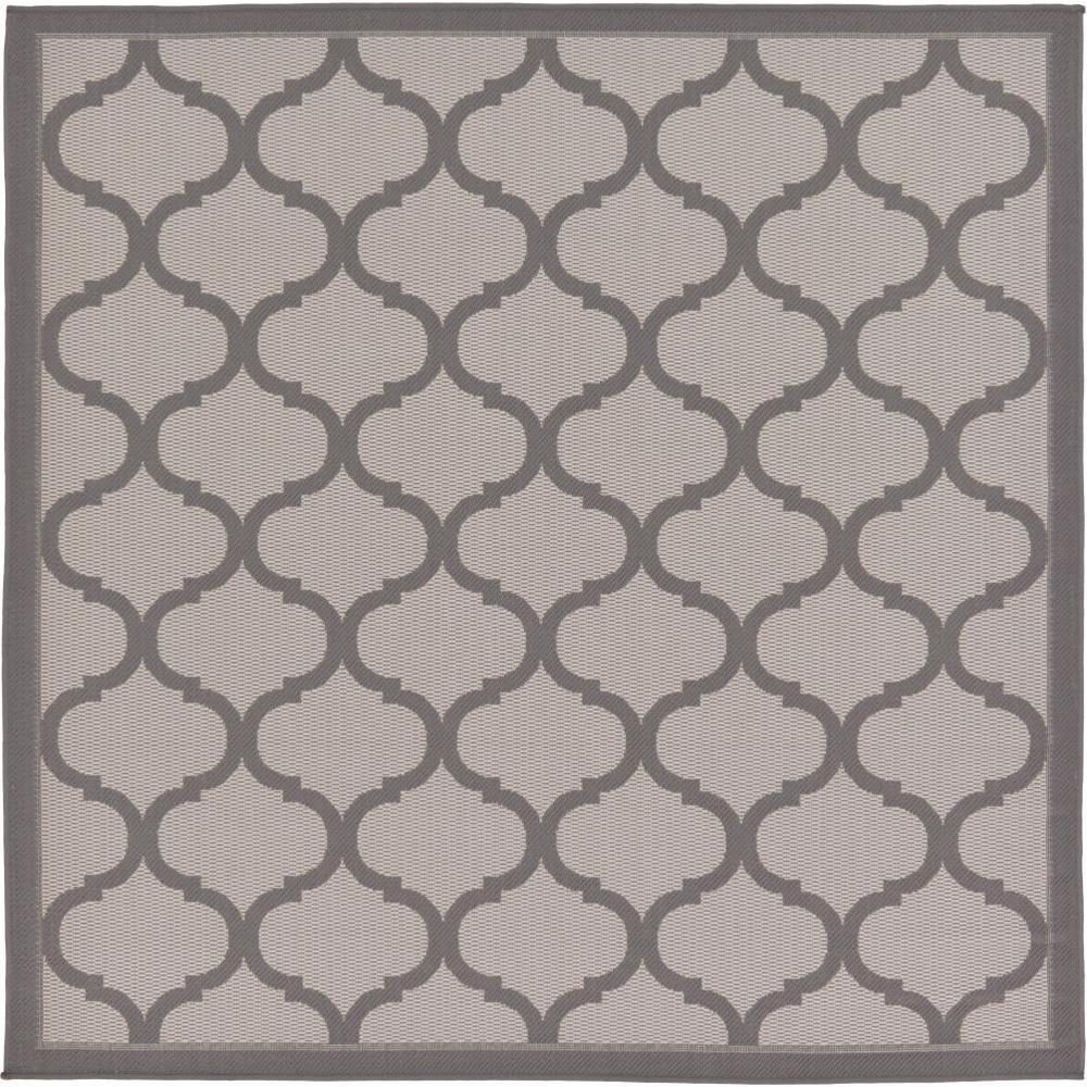 Outdoor Gray 6' x 6' Square Indoor/Outdoor Rug