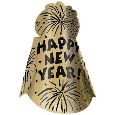 New Year's 9 in. Gold Glitter Foil Cone Hat (12-Pack)