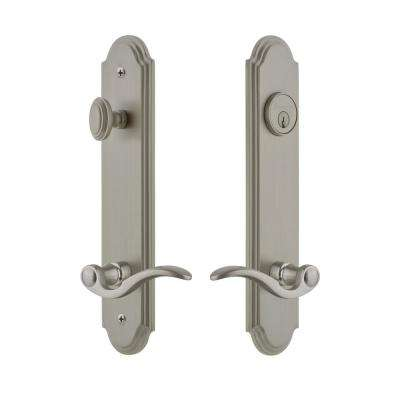 Arc Tall Plate 2-3/4 in. Backset Satin Nickel Door Handleset with Bellagio Door Lever