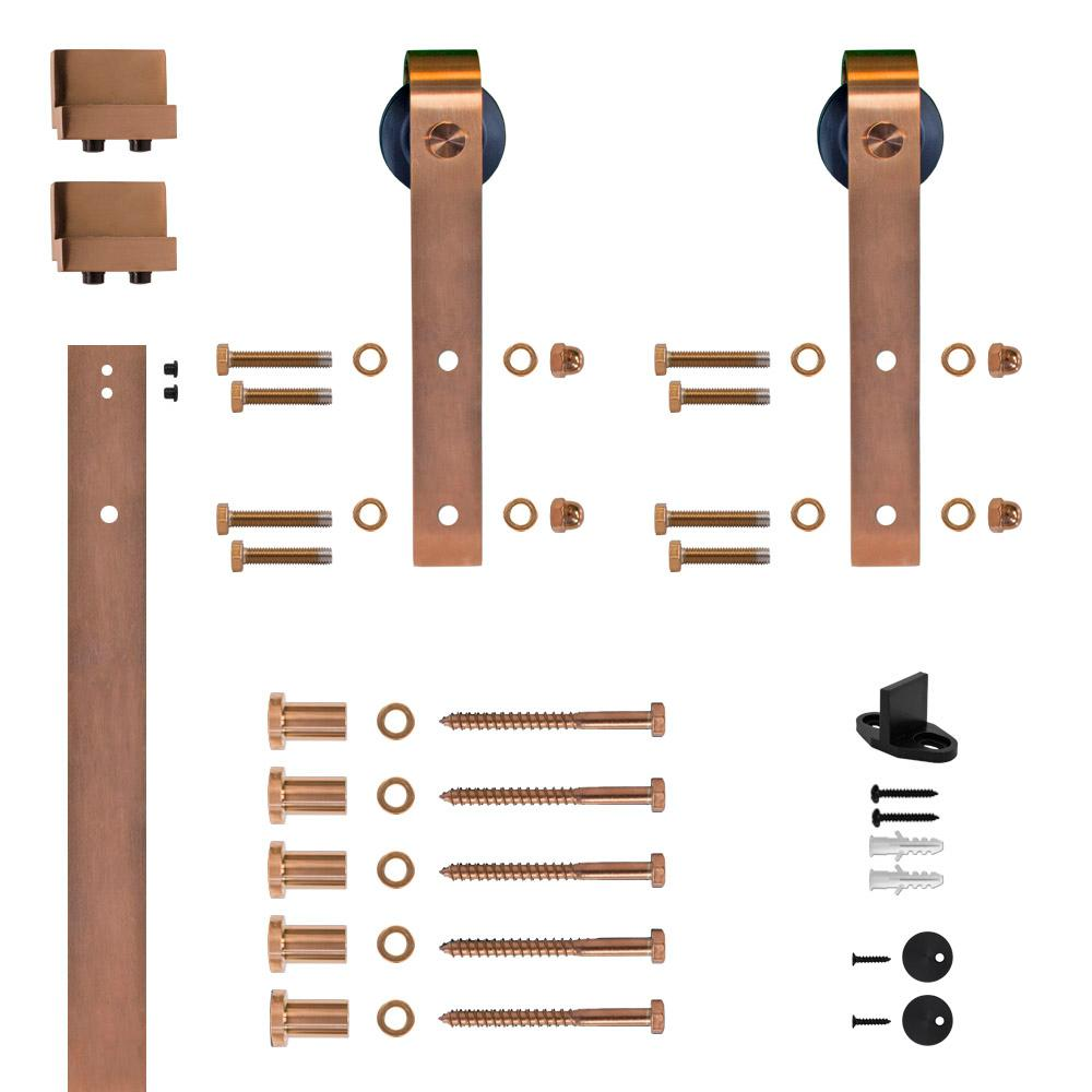 Hook Strap Copper PVD Rolling Barn Door Hardware Kit With 2 3/4 In