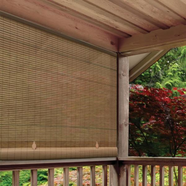 Woodgrain Cordless Light Filtering UV Protection PVC Manual Roll-Up Sun Shade 48 in. W x 72 in. L