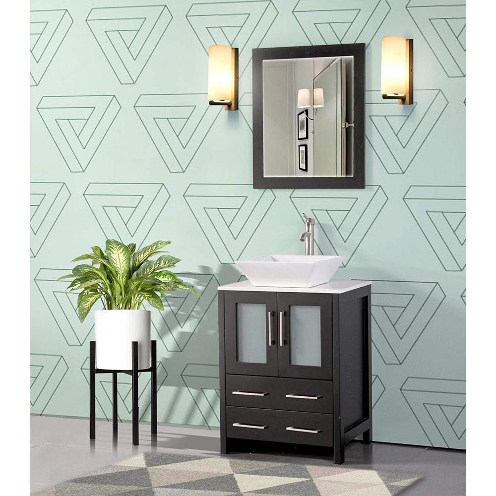 Ravenna 24 in. W x 18.5 in. D x 36 in. H Bathroom Vanity in Espresso with Single Basin Top in White Ceramic and Mirror