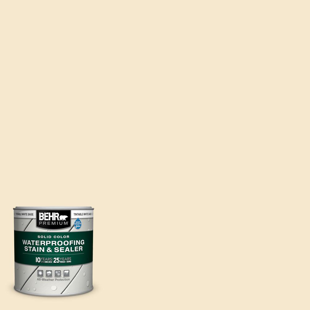 BEHR PREMIUM 8 oz. White Base Solid Color Waterproofing Exterior Wood Stain and Sealer Sample