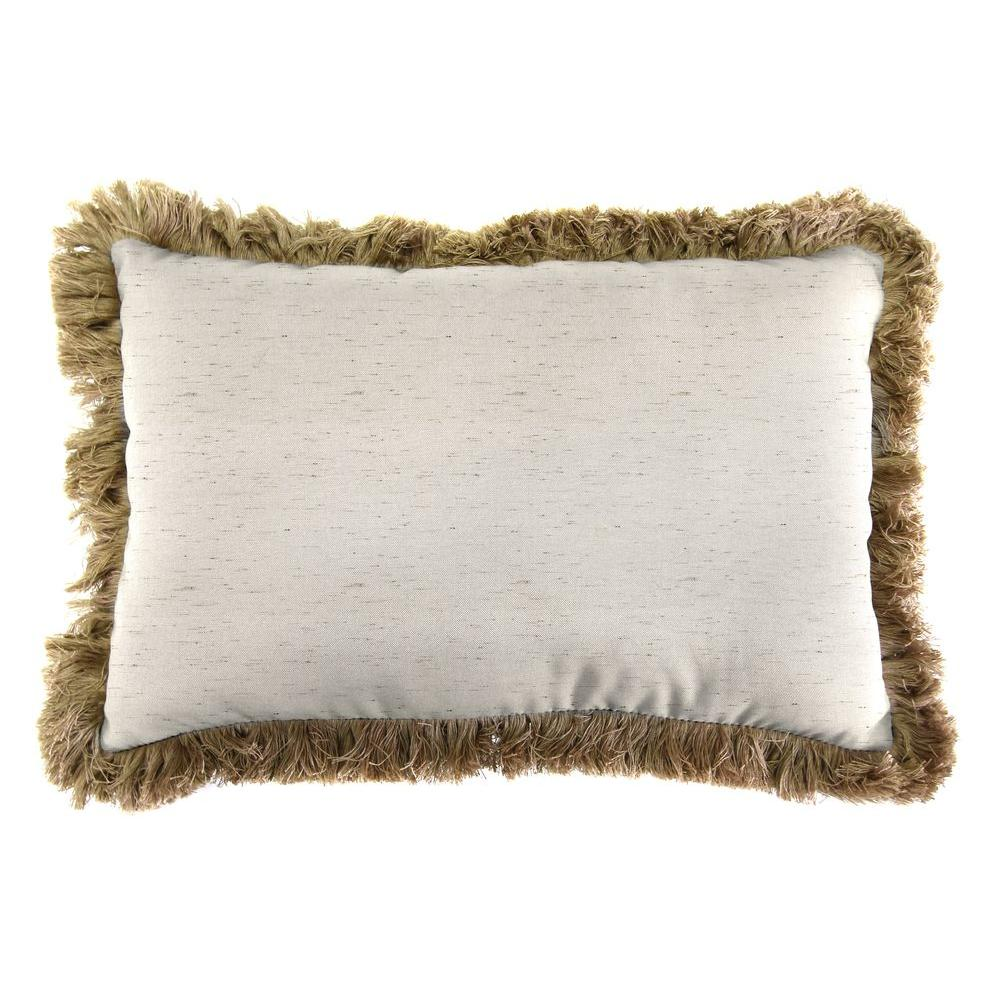 Sunbrella 9 in. x 22 in. Frequency Parchment Lumbar Outdoor Pillow