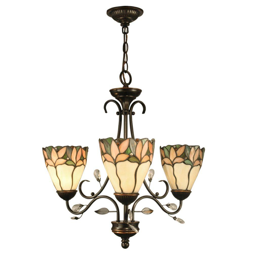 Dale Tiffany Crystal Leaf 3 Light Antique Bronze Chandelier With Art Gl Shades