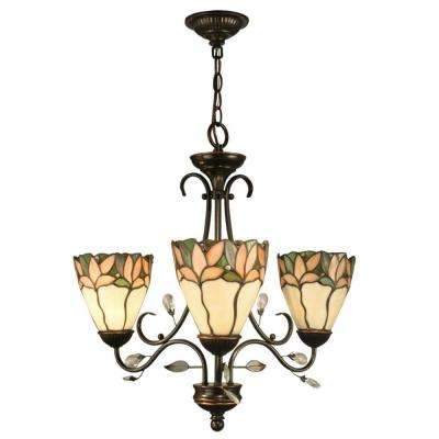 Crystal Leaf 3-Light Antique Bronze Chandelier with Art Glass Shades