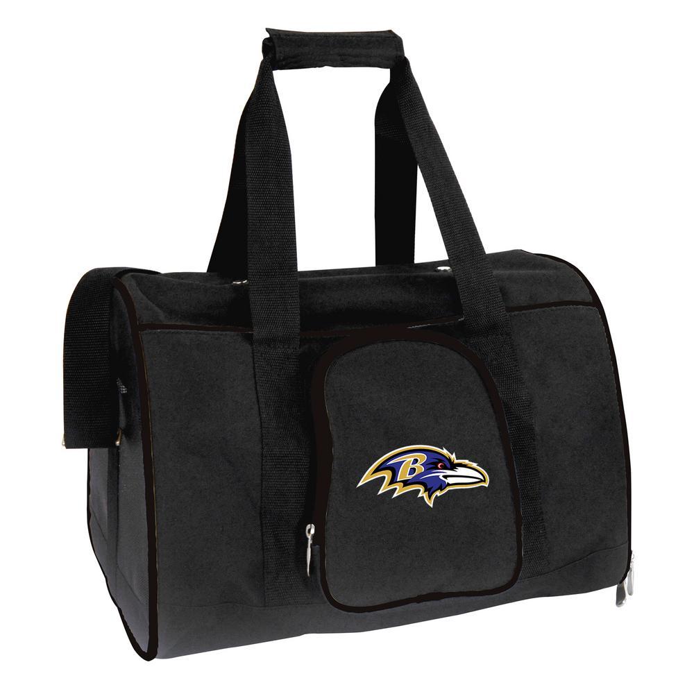 NFL Baltimore Ravens Pet Carrier Premium 16 in. Bag in Black