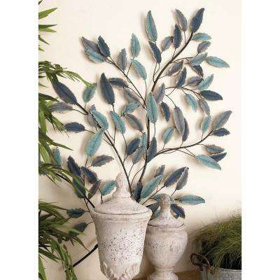 31 in. x 45 in. Natural Rustic Turquoise and Blue Branch and Leaves Wall Decor