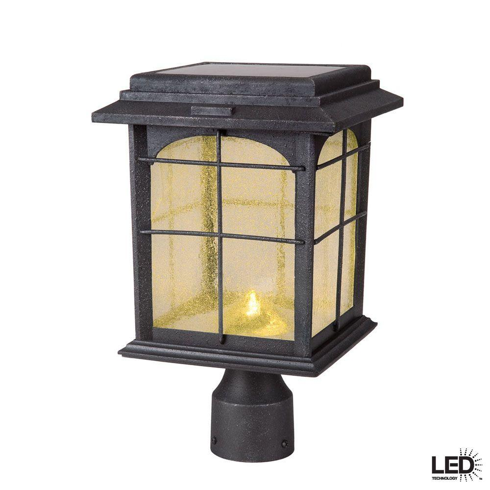 Hampton bay solar outdoor hand painted sanded iron post lantern with seedy glass shade 46240 for Solar exterior post lantern light