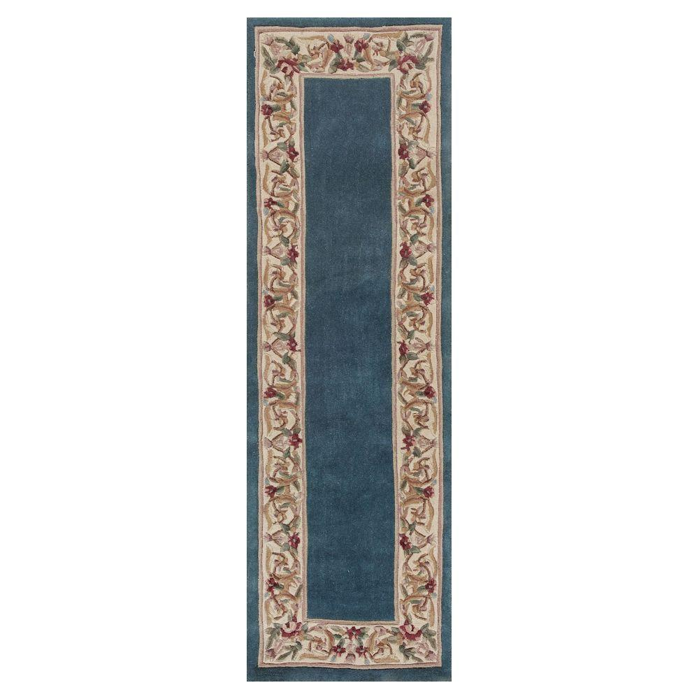 Kas Rugs Lush Floral Border Slate Blue 2 Ft X 10 Ft
