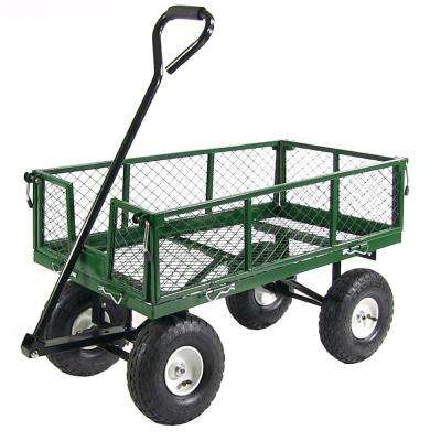 Green Steel Utility Cart with Removable Folding Sides