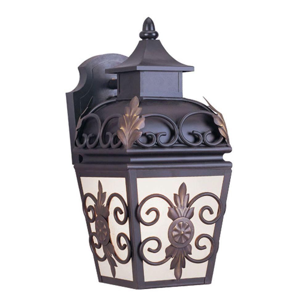 Wall-Mount 1-Light Bronze Outdoor Incandescent Lantern