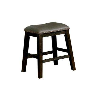 Dalion 24.5 in. Dark Walnut Leatherette Bar Stool (Set of 2)