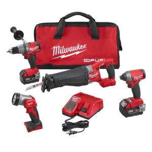 Milwaukee M18 FUEL 18-Volt Lithium-Ion Brushless Cordless Combo Kit (4-Tool) with (2) 5.0 Ah Batteries, (1)... by Milwaukee