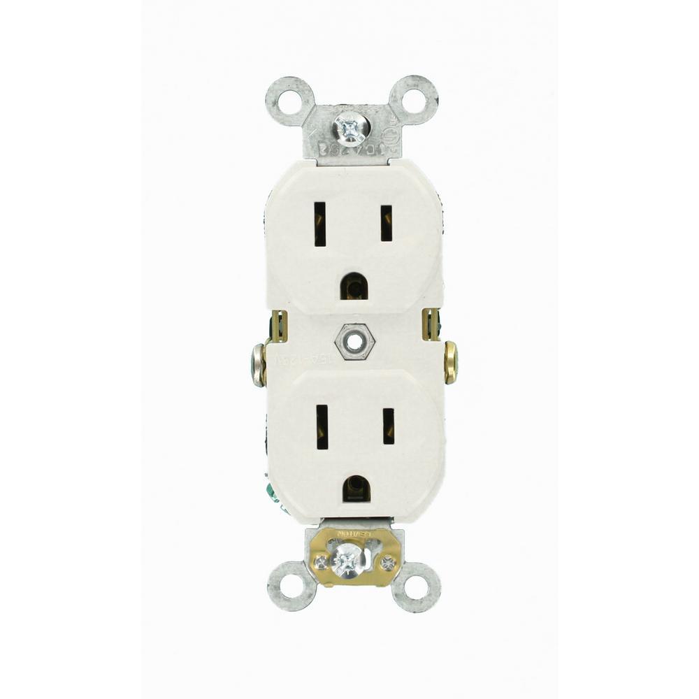 Leviton 15 Amp Commercial Grade Duplex Outlet, White