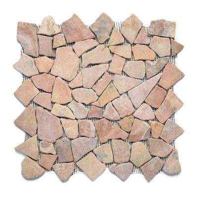 Indonesian Sumatra Red 12 in. x 12 in. x 6.35 mm Natural Stone Pebble Mesh-Mounted Mosaic Tile (10 sq. ft. / case)