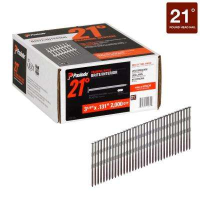 3 1/4 in. x 0.131-Gauge 21° Brite Smooth Shank Plastic Collated Framing Nails 2000 per Box
